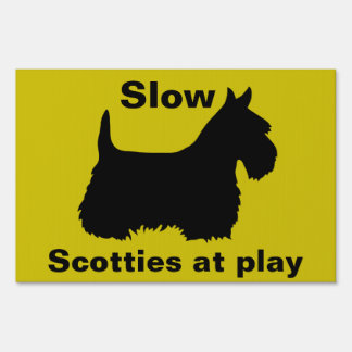Scottish Terrier,Caution, Slow, Scotties at play Sign