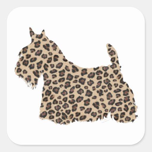 Scottish Terrier Cheetah Print Stickers