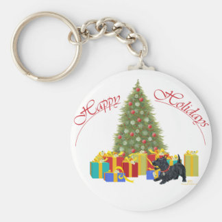 Scottish Terrier Christmas Basic Round Button Keychain