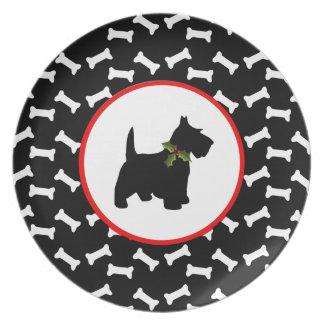 Scottish Terrier Christmas Dog Bones Dinner Plates