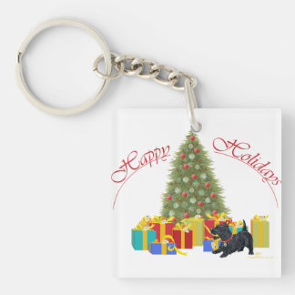 Scottish Terrier Christmas Double-Sided Square Acrylic Keychain