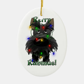 Scottish Terrier - Christmas Lights Ceramic Ornament