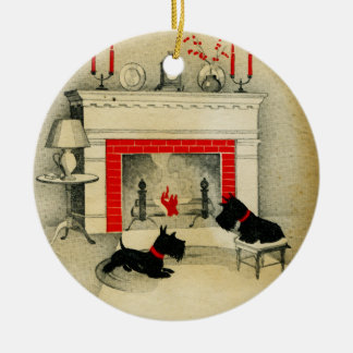 Scottish Terrier Christmas Puppies Holiday Ceramic Ornament