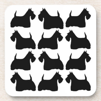 Scottish Terrier dog black silhouette coaster