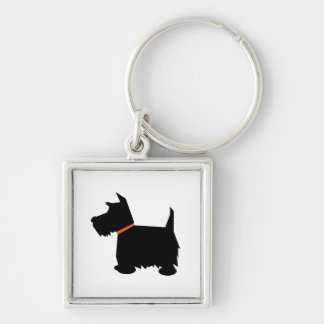 Scottish Terrier dog black silhouette keychain