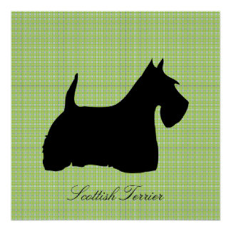 Scottish Terrier dog black silhouette poster print