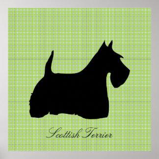 Scottish Terrier dog black silhouette poster print