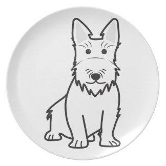 Scottish Terrier Dog Cartoon Dinner Plate