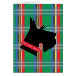 Scottish Terrier Dog Plaid Christmas Card