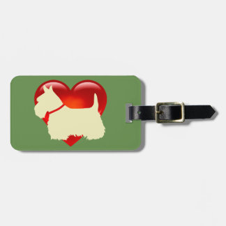Scottish Terrier dog, red heart, bow, zazzle green Luggage Tag