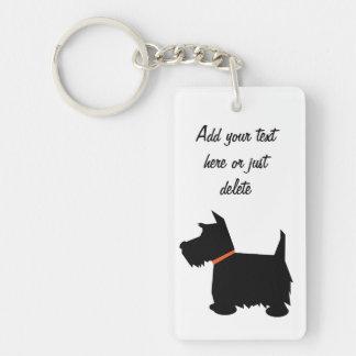 Scottish Terrier dog, scottie silhouette custom Double-Sided Rectangular Acrylic Keychain
