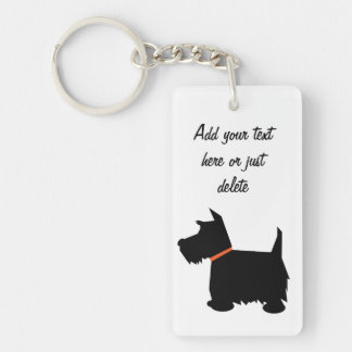 Scottish Terrier dog, scottie silhouette custom Keychain