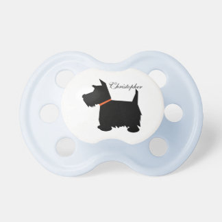 Scottish Terrier dog silhouette custom boys name Pacifier