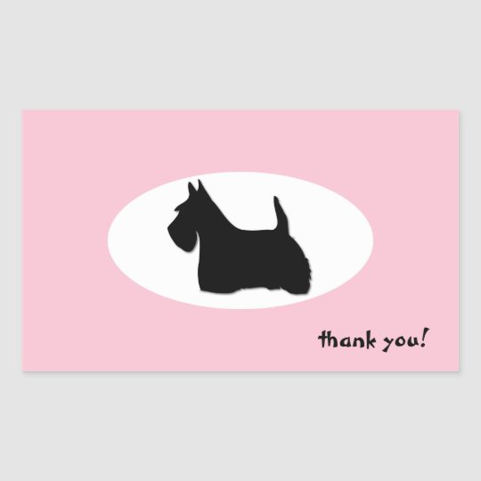 Scottish Terrier dog silhouette thank you sticker