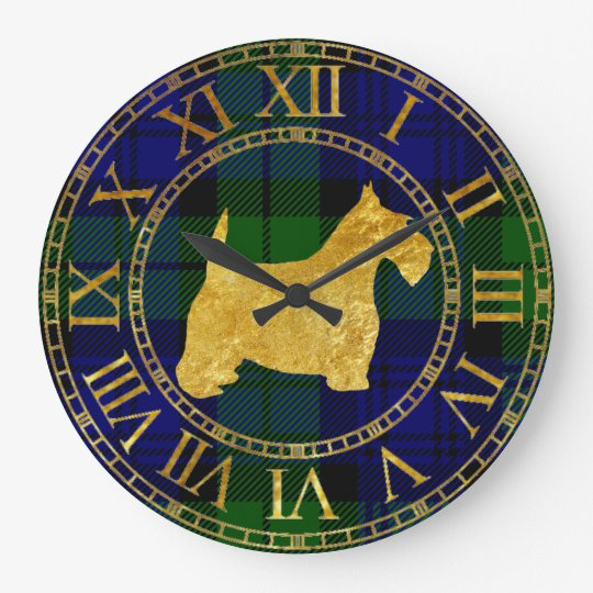 Scottish Terrier Gold and Plaid Wallclock