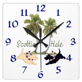Scottish Terrier Hawaiian Design Square Wall Clock
