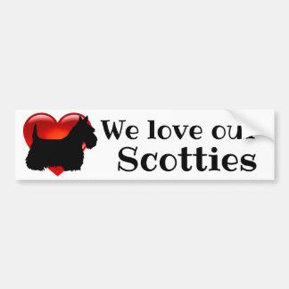 Scottish Terrier,heart, We love our scotties Bumper Sticker