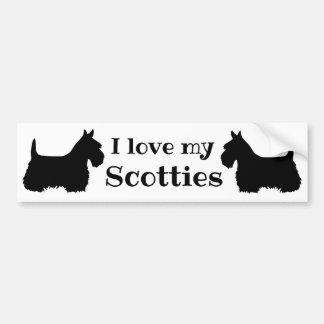 Scottish Terrier, I love my Scotties, 2 Scotties Bumper Sticker