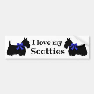 Scottish Terrier, I love my Scotties/blue bow Bumper Sticker