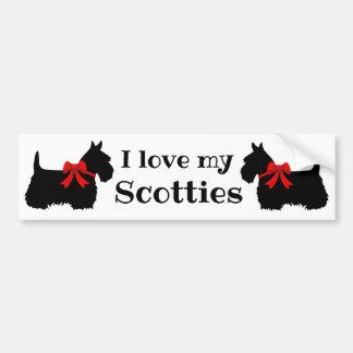 Scottish Terrier, I love my Scotties/red bow Bumper Sticker