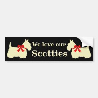 Scottish Terrier, I love my Scotties, red bow Bumper Sticker