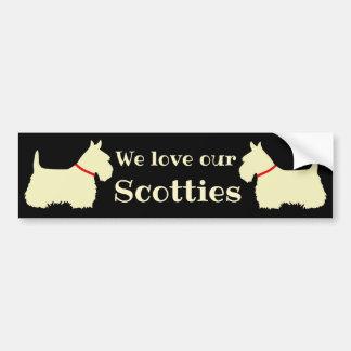 Scottish Terrier, I love my Scotties, red collar Bumper Sticker