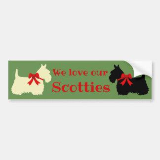 Scottish Terrier, I love my Scotties/wheaten/black Bumper Sticker