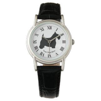 Scottish Terrier in Black Personalize Watch