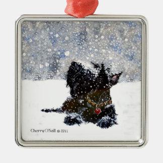 Scottish Terrier in Falling Snow Metal Ornament