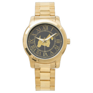 Scottish Terrier in Gold and Black Personalize Wrist Watch