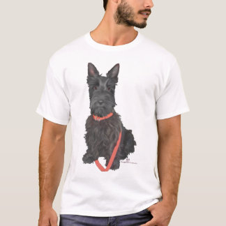 Scottish Terrier in Red Collar T-Shirt