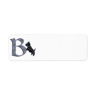 Scottish Terrier Monogram B Return Address Label