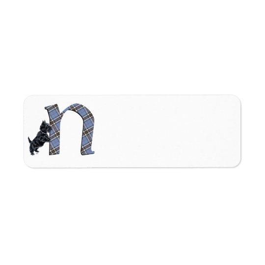 Scottish Terrier Monogram N Return Address Label