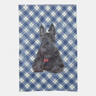 Scottish Terrier on Tartan Kitchen Towel
