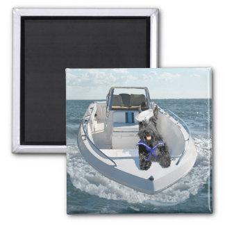 Scottish Terrier on the Boat Square Magnet