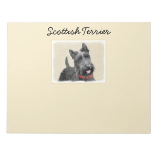 Scottish Terrier Painting - Cute Original Dog Art Notepad