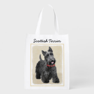 Scottish Terrier Painting - Cute Original Dog Art Reusable Grocery Bag