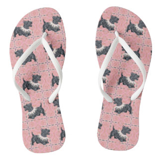 Scottish Terrier Party Mode Flip Flops