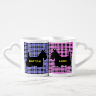 Scottish Terrier, plaid pink/blue, red heart/love Coffee Mug Set