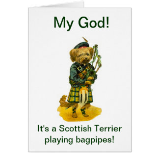 Scottish Terrier Playing Bagpipes Humor  Birthday Card