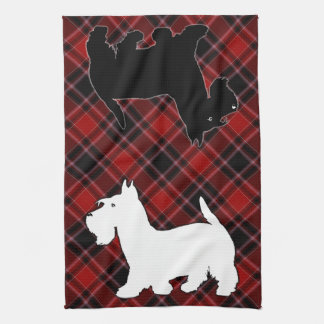 Scottish Terrier Red Black and White Tartan Kitchen Towel