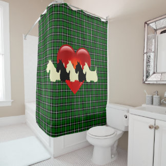 Scottish Terrier/red heart/Island green plaid