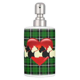 Scottish Terrier, red heart, Island green plaid Bathroom Set