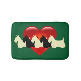 Scottish Terrier/red heart/Kelly/Irish green Bath Mat
