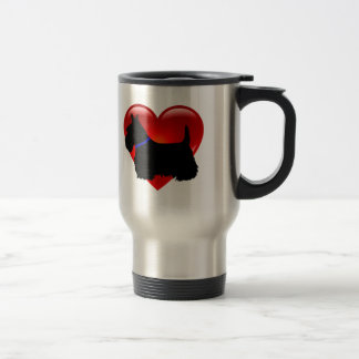Scottish Terrier red heart/love Island green blue Travel Mug