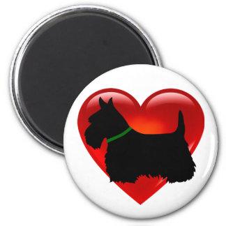 Scottish Terrier red heart/love Island green Magnet