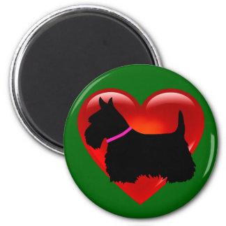 Scottish Terrier red heart/love Island green pink Magnet