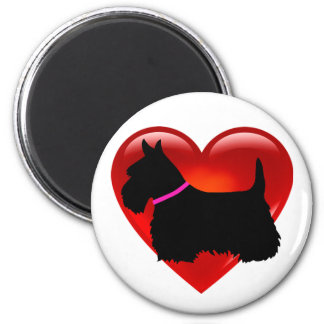 Scottish Terrier red heart/love Island green pink Magnet