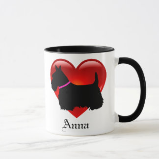 Scottish Terrier red heart/love Island green pink Mug