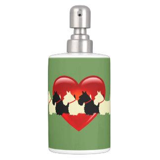 Scottish Terrier, red heart, sage green Bathroom Set
